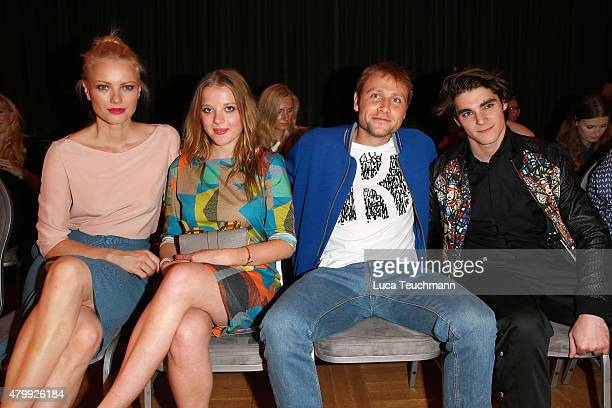 Franziska Knuppe, Jella Haase, Max Riemelt and RJ Mitte attend the Kilian Kerner show during the Mercedes-Benz Fashion Week Berlin Spring/Summer 2016...