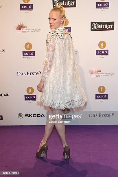 Franziska Knuppe poses on the red carpet prior the Echo award 2014 at Messe Berlin on March 27 2014 in Berlin Germany