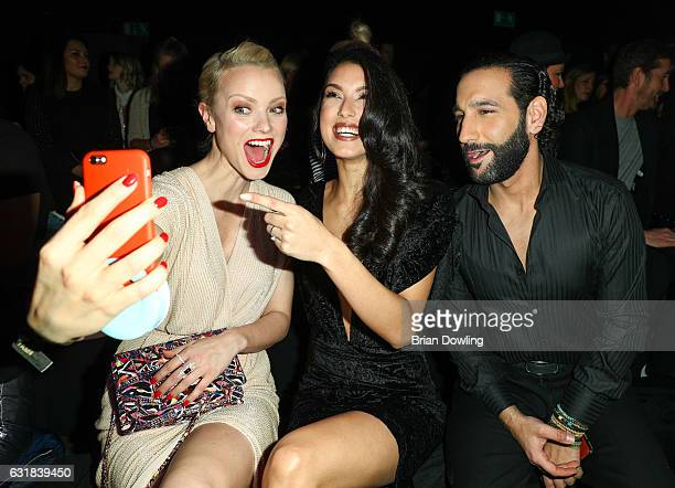 Franziska Knuppe Rebecca Mir and her husband Massimo Sinato attend the Maybelline Hot Trendsxhbition 2017 show during the MercedesBenz Fashion Week...