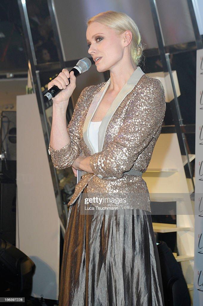 Franziska Knuppe speaks at Les Galeries Lafayettes Re-Open Ground Floor on November 14, 2012 in Berlin, Germany.