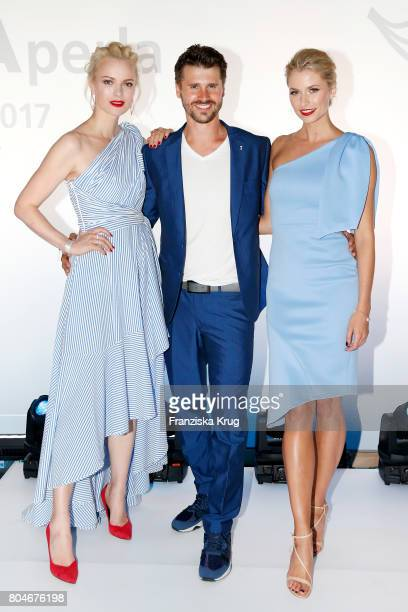 Franziska Knuppe Thore Schoelermann and godmother Lena Gercke during the christening of AIDAperla Cruise Ship on June 30 2017 in Palma de Mallorca...