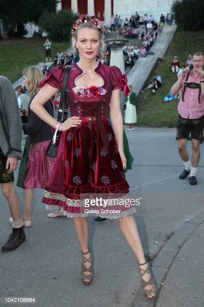 Franziska Knuppe wearing a Dirndl by Lola Paltinger during the Madlwiesn as part of the Oktoberfest 2018 at Schuetzenfesthalle tent at Theresienwiese...
