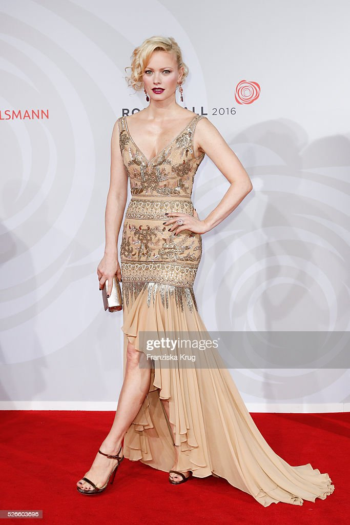 Franziska Knuppe, wearing a dress by Brian Rennie Couture, jewellery by Chopard and Jimmy Choo shoes, attends the Rosenball 2016 on April 30 in Berlin, Germany.