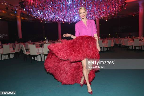 Franziska Knuppe wearing a dress by designer Eva Poleschinski during the first INHORGENTA AWARD at Postpalast on February 19 2017 in Munich Germany