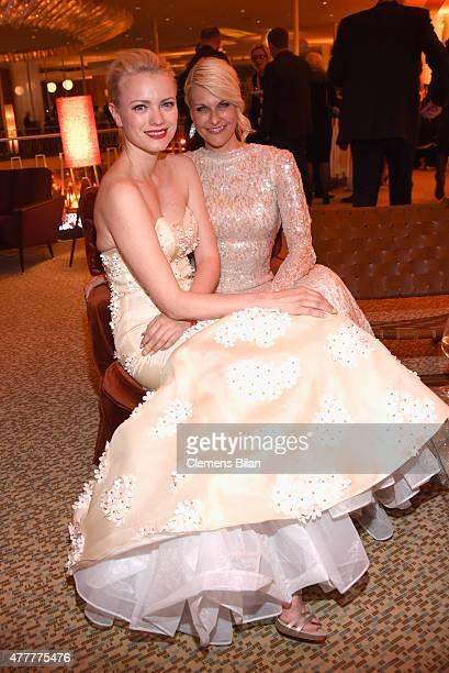 Franziska Knuppe wearing a dress by Meissen Couture and Natascha Gruen attend the German Film Award 2015 Lola party at Palais am Funkturm on June 19...