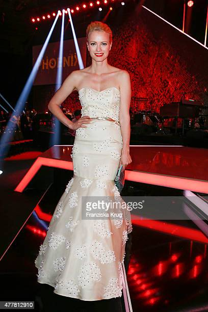 Franziska Knuppe wearing a dress by Meissen Couture attends the German Film Award 2015 Lola show at Messe Berlin on June 19 2015 in Berlin Germany