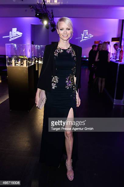 Franziska Knuppe wearing Elisabetta Franchi attends the SPECTRE by ST Dupont launch event on November 4 2015 in Berlin Germany