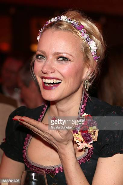 Franziska Knuppe wearing jewelry by Thomas Jirgens Juwelenschmiede during the Weisswurstparty at Hotel Stanglwirt on January 20 2017 in Going near...