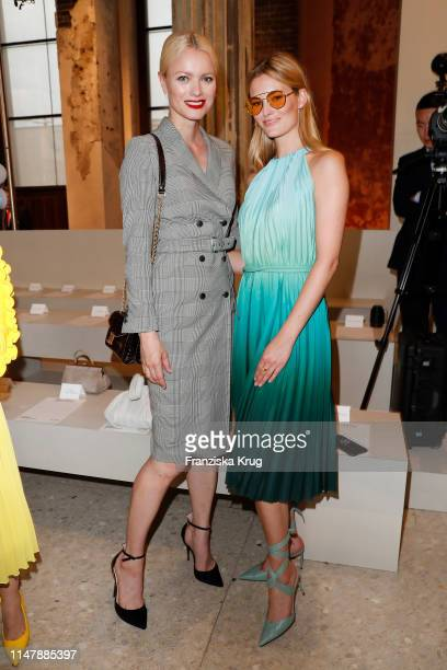 Franziska Knuppe wearing Max Mara and Charlott Cordes wearing Max Mara during the Max Mara Resort 2020 Fashion Show at Neues Museum on June 3 2019 in...