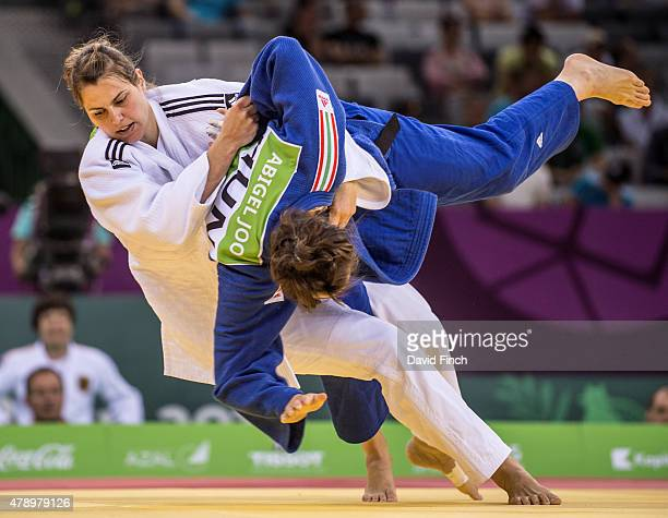 Franziska Konitz of Germany counters Abigel Joo of Hungary enabling Germany to beat Hungary by 3 - 2 on their way to the silver medal at the 2015...
