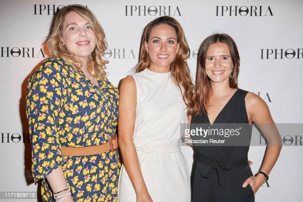 Franziska Leonhardt, Franca Lehfeldt and Lina Marie Gralka attend the Iphoria Influencer event at Hotel Zoo on August 30, 2019 in Berlin, Germany.