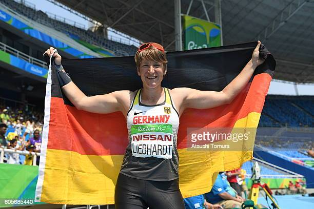 Franziska Liebhardt of Germany celebrates winning the silver medal in the Women's Long Jump T37 on day 7 of the Rio 2016 Paralympic Games at the...