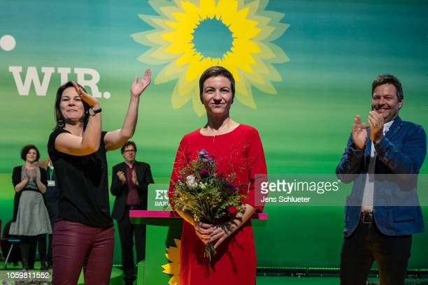 Franziska Maria Ska Keller the Greens party top candidate for the European elections Robert Habeck and Annalena Baerbock the two coleaders of the...
