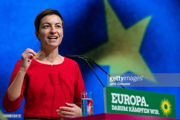 Franziska Maria Ska Keller the Greens party top candidate for the European elections speaks to delegates at a Greens Party federal congress ahead of...