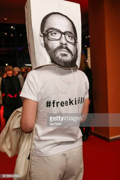 Franziska Petri with a bag of the Russian director Kirill Serebrennikov oh her head during the closing ceremony during the 68th Berlinale...