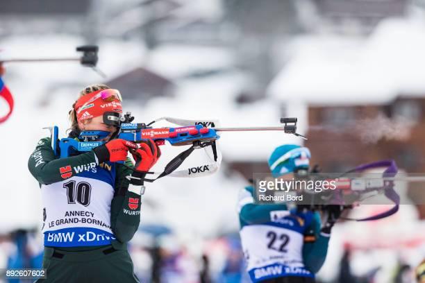 Franziska Preuss of France shoots during the IBU Biathlon World Cup Women's Sprint on December 14 2017 in Le Grand Bornand France