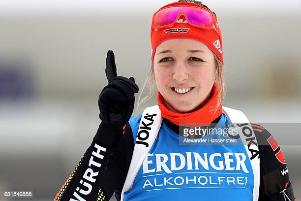 Franziska Preuss of Germany at the zeoring for the 4x6 km Women's Relay during the IBU Biathlon World Cup at Chiemgau Arena on January 12 2017 in...