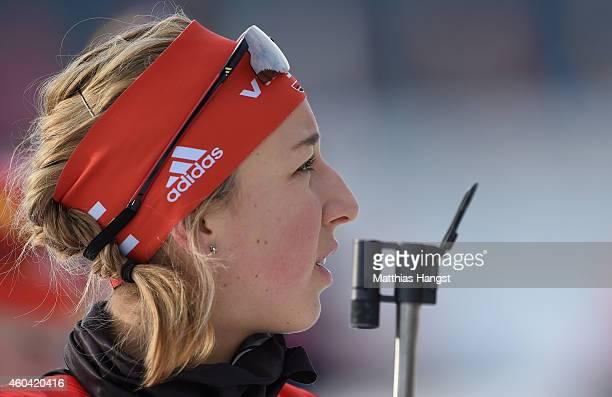 Franziska Preuss of Germany at the zeoring for the women 4 x 6 km relay event in the IBU Biathlon World Cup on December 13 2014 in Hochfilzen Austria