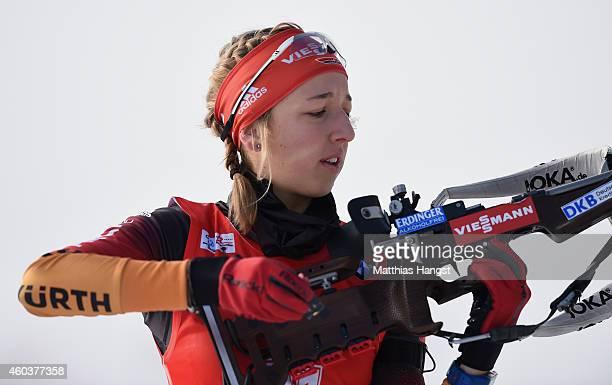 Franziska Preuss of Germany at the zeoring for the women's 75 km sprint event during the IBU Biathlon World Cup on December 12 2014 in Hochfilzen...