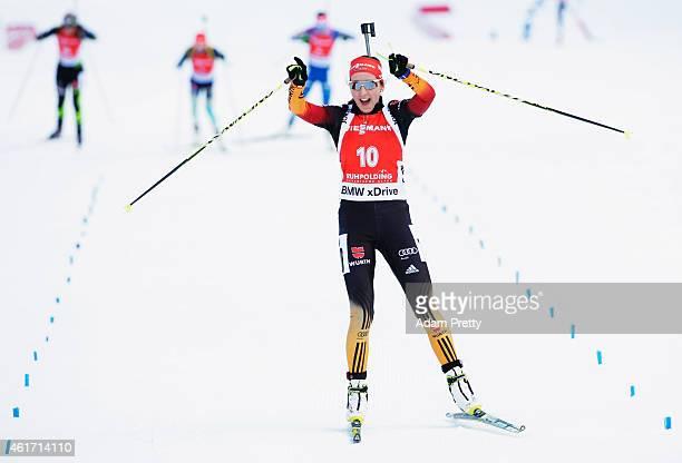 Franziska Preuss of Germany celebrates second place as she crosses the finish line after the IBU Biathlon World Cup Women's Mass Start on January 18...
