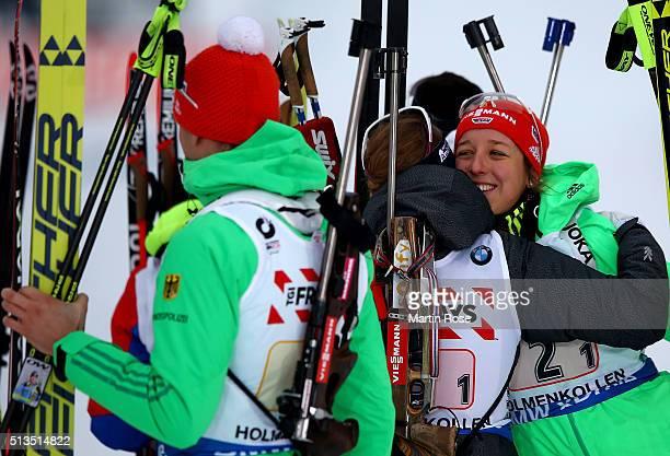 Franziska Preuss of Germany celebrates winning the silver medal during the IBU Biathlon World Championships Mixed Relay at Holmenkollen on March 3...