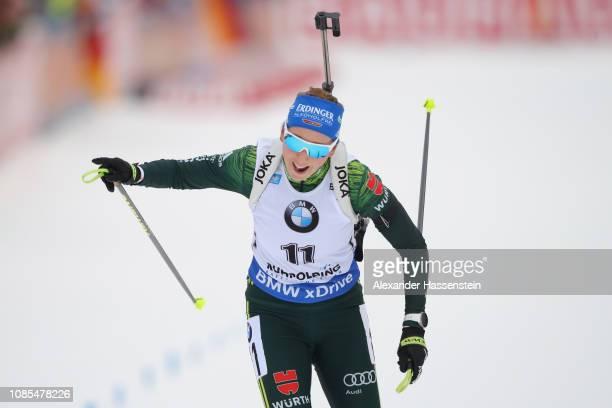 Franziska Preuss of Germany celebrates winning the Women 125 km Mass Start during the IBU Biathlon World Cup at Chiemgau Arena on January 20 2019 in...