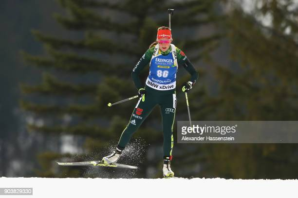 Franziska Preuss of Germany competes at the women's 15km individual competition during the IBU Biathlon World Cup at Chiemgau Arena on January 11...