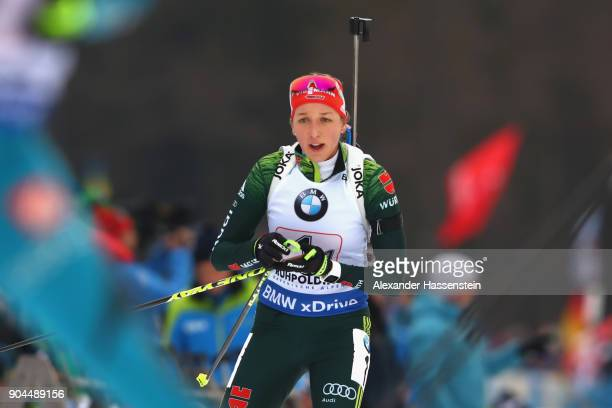Franziska Preuss of Germany competes at the women's 6km relay competition during the IBU Biathlon World Cup at Chiemgau Arena on January 13 2018 in...