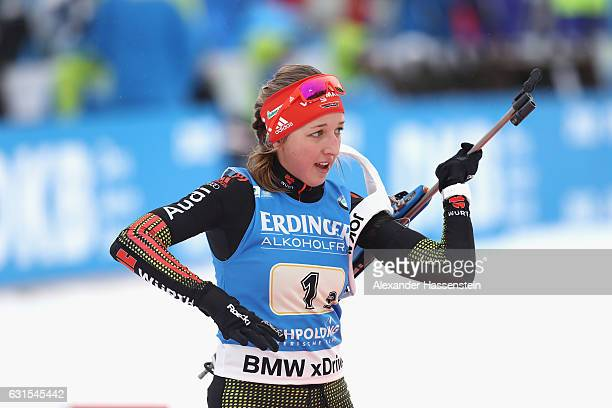 Franziska Preuss of Germany competes during the 4x6 km Women's Relay during the IBU Biathlon World Cup at Chiemgau Arena on January 12 2017 in...