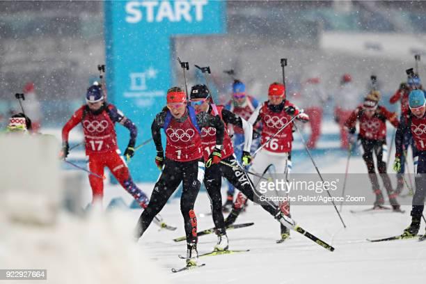 Franziska Preuss of Germany competes during the Biathlon Women's Relay at Alpensia Biathlon Centre on February 22 2018 in Pyeongchanggun South Korea