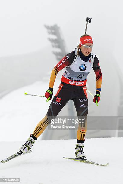 Franziska Preuss of Germany competes during the IBU Biathlon World Cup Women's 10 km pursuit race on March 22 2014 in Oslo Norway