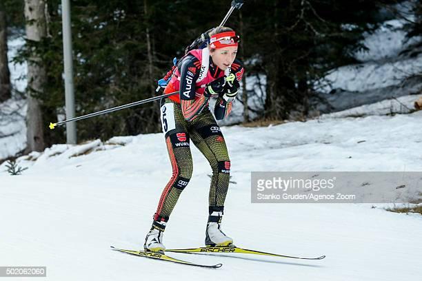 Franziska Preuss of Germany competes during the IBU Biathlon World Cup Men's and Women's Mass Start on December 20 2015 in Pokljuka Slovenia
