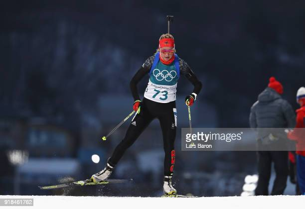 Franziska Preuss of Germany competes during the Women's 15km Individual Biathlon at Alpensia Biathlon Centre on February 15 2018 in Pyeongchanggun...