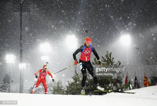 Franziska Preuss of Germany competes during the Women's 4x6km Relay on day 13 of the PyeongChang 2018 Winter Olympic Games at Alpensia Biathlon...