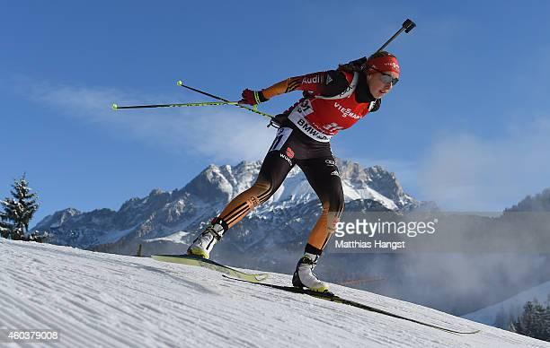 Franziska Preuss of Germany competes during the women's 75 km sprint event during the IBU Biathlon World Cup on December 12 2014 in Hochfilzen Austria