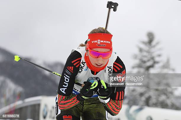 Franziska Preuss of Germany competes in the 75 km Women's Sprint during the IBU Biathlon World Cup at Chiemgau Arena on January 14 2017 in Ruhpolding...