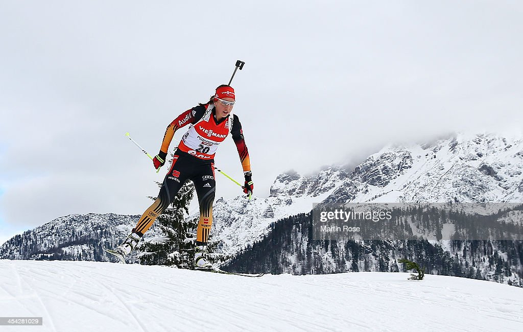 Franziska Preuss of Germany competes in the women's 10km pursuit event during the IBU Biathlon World Cup on December 8, 2013 in Hochfilzen, Austria.