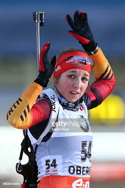 Franziska Preuss of Germany competes in the women's 10km pursuit event during the IBU Biathlon World Cupon January 4 2014 in Oberhof Germany