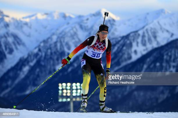 Franziska Preuss of Germany competes in the Women's 15 km Individual during day seven of the Sochi 2014 Winter Olympics at Laura Crosscountry Ski...