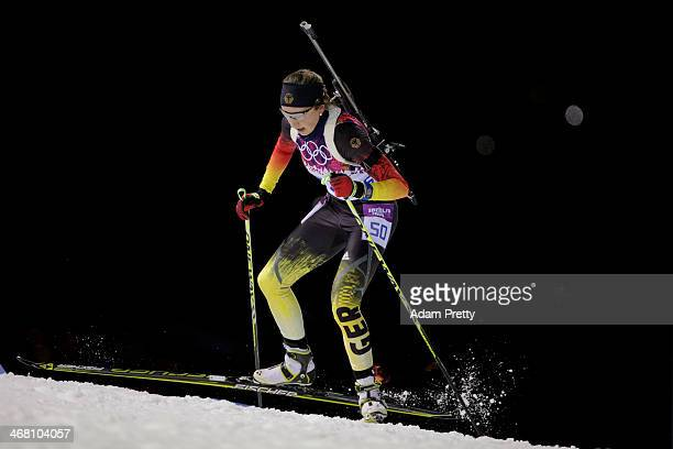 Franziska Preuss of Germany competes in the Women's 75 km Sprint during day two of the Sochi 2014 Winter Olympics at Laura Crosscountry Ski Biathlon...