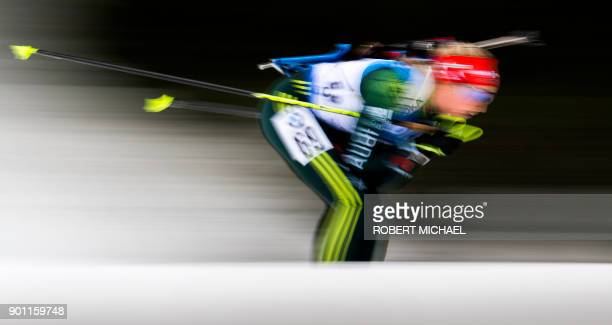Franziska Preuss of Germany competes in the women's 75 km sprint event at the IBU Biathlon World Cup in Oberhof central Germany on January 4 2018 The...