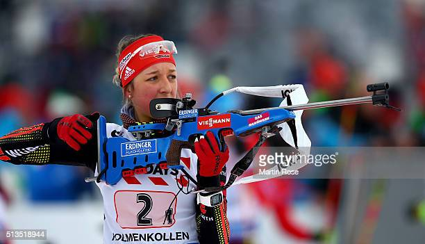 Franziska Preuss of Germany during the zeoring for the IBU Biathlon World Championships Mixed Relay at Holmenkollen on March 3 2016 in Oslo Norway