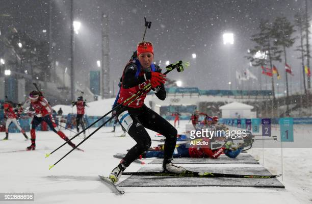 Franziska Preuss of Germany exits the shooting range during the Women's 4x6km Relay on day 13 of the PyeongChang 2018 Winter Olympic Games at...