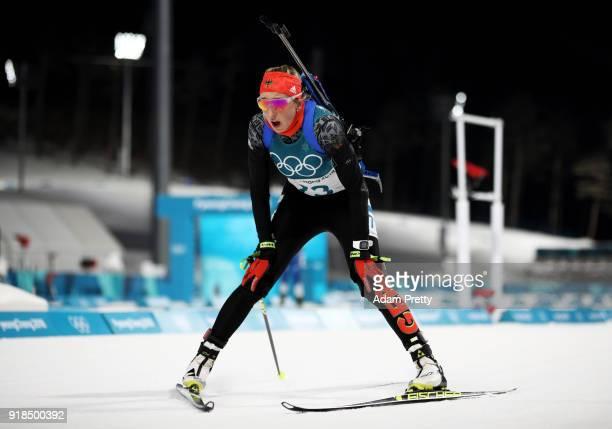 Franziska Preuss of Germany finishes during the Women's 15km Individual Biathlon at Alpensia Biathlon Centre on February 15 2018 in Pyeongchanggun...