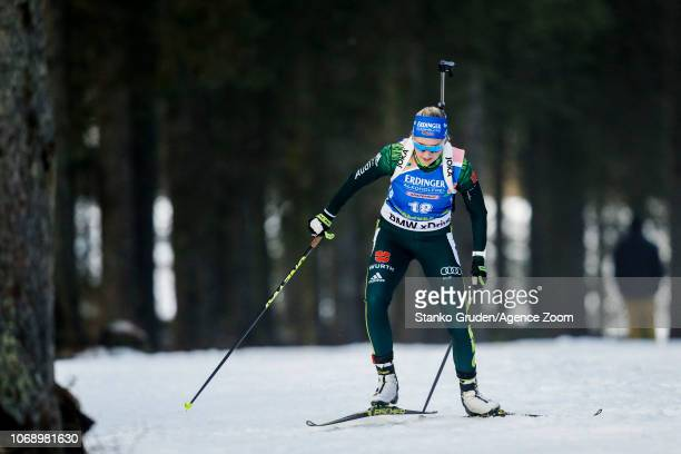 Franziska Preuss of Germany in action during the IBU Biathlon World Cup Women's 15km on December 6 2018 in Pokljuka Slovenia