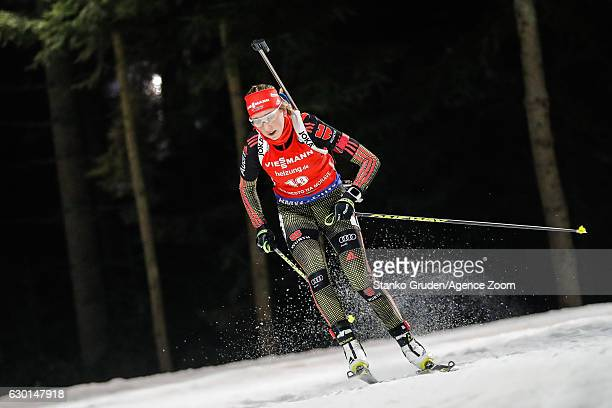 Franziska Preuss of Germany in action during the IBU Biathlon World Cup Men's and Women's Pursuit on December 17 2017 in Nove Mesto na Morave Czech...