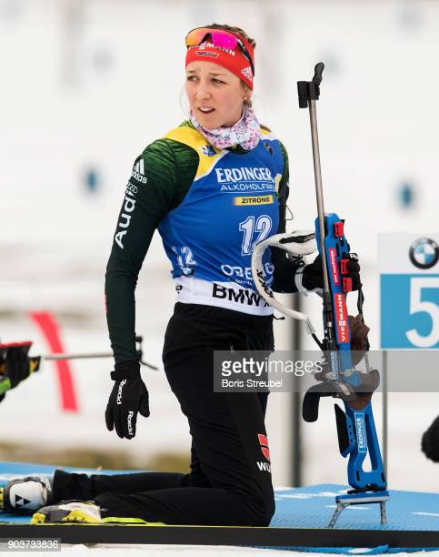 Franziska Preuss of Germany looks on prior to the 10 km IBU World Cup Biathlon Oberhof women's Persuit on January 7 2018 in Oberhof Germany