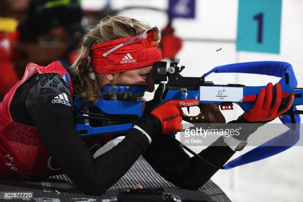 Franziska Preuss of Germany practices shooting prior to the Women's 4x6km Relay on day 13 of the PyeongChang 2018 Winter Olympic Games at Alpensia...