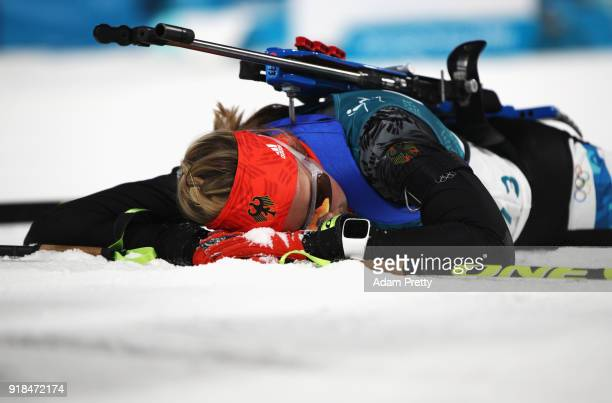 Franziska Preuss of Germany reacts at the finish during the Women's 15km Individual Biathlon at Alpensia Biathlon Centre on February 15 2018 in...