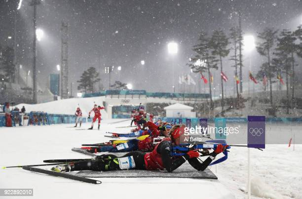 Franziska Preuss of Germany shoots during the Women's 4x6km Relay on day 13 of the PyeongChang 2018 Winter Olympic Games at Alpensia Biathlon Centre...